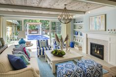 Family room with reclaimed wood ceiling, blue walls, fireplace with shelves on the sideas, blue and white fabric and coastal decor. Great Neighborhood Homes. Coastal Living Rooms, Condo Living, Living Room Remodel, Home Living Room, Living Room Decor, House Of Turquoise, Luxury Interior Design, Great Rooms, Decoration