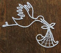 Stork Carrying Baby by iCipka on Etsy Bobbin Lacemaking, Lace Art, Bobbin Lace Patterns, Point Lace, Lace Making, String Art, Embroidery Stitches, Crochet, Projects To Try