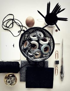 Lots of washi tapes in a bowl! Deco Tape, Things Organized Neatly, Workspace Inspiration, Interior Inspiration, My Art Studio, Lounge, Thinking Outside The Box, Black Decor, Modern Industrial
