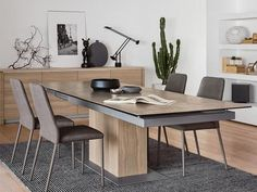 SINCRO dining table Extendable up to 12 people Wood/Ceramic