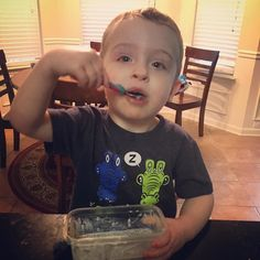 He decided to give #ChiaSeedPudding a try and he loved it! #FitFamily #2YearsOld #MyFavoriteBoy #HappyBaby #PickyEater by christinereel