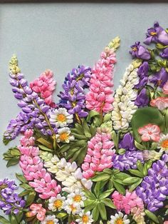 Luxury paintings for home Bright pictures with flowers embroidery ribbon Wall decor Picture embroidery For an anniversary Elite paintings lupines pink- green - white - purple Wedding anniversary gift Memorable gift of retirement A picture embroidered w Ribbon Embroidery Tutorial, Silk Ribbon Embroidery, Hand Embroidery, Brother Embroidery, Embroidered Silk, Hardanger Embroidery, Learn Embroidery, Embroidery Patterns, Embroidery Stitches