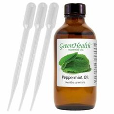4 fl oz green health peppermint essential oil pure in amber glass bott List Of Essential Oils, Tea Tree Essential Oil, Peppermint Oil Benefits, Colored Glass Bottles, Cold Home Remedies, Pure Oils, Healthy People 2020 Goals, Health Eating, Health Remedies