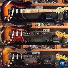 Happy Straturday! Here's three custom Strats straight from the work bench of Fender Master Builder @dwilson_fender. Which one gets your vote? #Stratocaster #Studio33Guitar