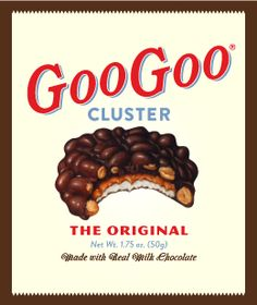 The Goo Goo Cluster was developed in 1912 in a copper kettle by Standard Candy Co in Nashville, TN. by Howell Campbell and Porter Moore.  At first it was hand dipped and sold under glass without wrappers in drugstores.  Today the Standard Candy Company can produce 20,000 an hour.