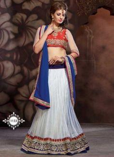 Desirable Blue And White Satin Net Lehenga Choli http://www.angelnx.com/Lehenga-Choli/Wedding-Lehenga-Choli
