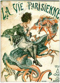 Paris Vintage Travel Poster WOMAN BASKET OF FLOWERS 24X36 Unique Prized