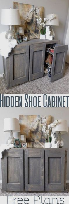 Hidden Shoe Storage never looked so good with this shoe cabinet. A shoe cabinet is one thing, but a cabinet with hidden shoe storage? Well that's whole notha' ball game. I am so excited to share…MoreMore #WoodworkPlans