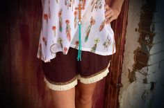 The Bling Box - Brown Aztec Trim Shorts, $26.99 (http://www.theblingboxonline.com/brown-aztec-trim-shorts/)