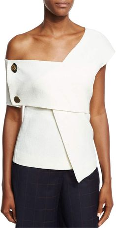 Rejina Pyo Willow One-Shoulder Bonded Crepe Top w/ Trim Sewing Blouses, Crepe Top, Minimal Outfit, Rejina Pyo, White Tops, Blouse Designs, Collar Shirts, Dress To Impress, One Shoulder