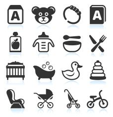 Baby Products black & white royalty free vector icon set vector art illustration