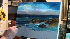 Video Lessons of Drawing & Painting: How to Paint Ocean with Rocks - Marge Kinney Art