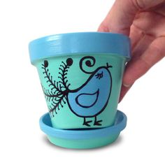 Hand Painted Flower Pot in Blue And Aqua by MicheleCordaroDesign, $12.00