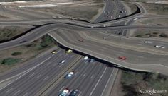 Clement Valla's screenshots of distorted bridges from Google Earth's 3D view.