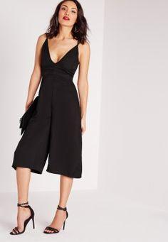 Cross Back Culotte Jumpsuit Black