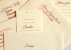 Inscription onto Invitations & Envelopes