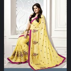 Stand out from rest with this light yellow gold color silk saree  Price: £80.00