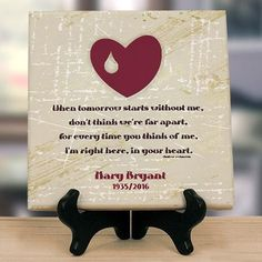 "Personalized ""When Tomorrow Starts Without Me"" Memorial Wall Canvas"