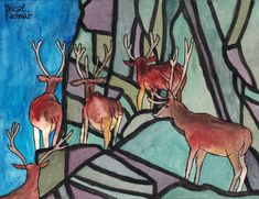 """Hirsche im Gebirge / Deer in the mountains"" , watercolour and ink, 24 x 32 cm Watercolor And Ink, Deer, Moose Art, Paintings, Mountains, Animals, Mountain Range, Painting Art, Animales"