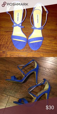 Steve Madden Feliz strappy heels Steve Madden Feliz minimalist strappy heel in a cobalt blue. Size 6 1/2, worn once, in great condition. These are so cute on, I just haven't had a reason to wear them. Steve Madden Shoes Heels