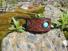 Embossed leather bracelet with turquoise Three stars, Кожаный браслет с бирюзой Три звезды by RozaBracelets on Etsy