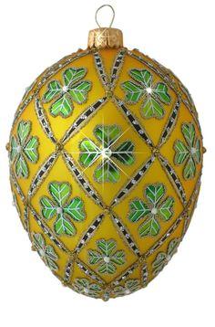 Edward Bar 4 Leaf Clover Gold Egg Christmas Ornament Handmade Christmas