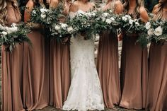 mountain wedding taupe bridesmaid dresses heavy greenery wedding bouquets pnw br – Oriel D. Taupe Wedding, Fall Wedding Colors, Green Wedding, Taupe Bridesmaid Dresses, Wedding Bridesmaids, Wedding Bouquets, Wedding Attire, Hair Wedding, Prom Hair