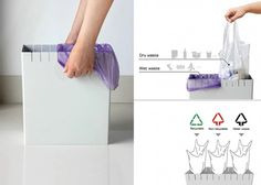 Eco Trash Can (a Red Dot Award winner) - by Hu Lingling and Zhang Baoyi. The bin provides the option of using multiple bags in a single receptacle. Home Furniture, Furniture Design, Presentation Board Design, Double Rod Curtains, Recycling Bins, Keep It Simple, Red Dots, Home Organization, Industrial Design