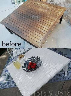 DIY Outdoor Furniture. great idea. going to start searching at goodwill! then I'll make John tile #outdoordiyfurniture