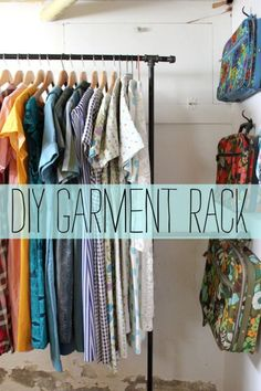 littlecraziness:  (via Garment Rack D.I.Y. - A Beautiful Mess)  If you have the extra room in your dorm this is a great way to expand that tiny closet and store more clothes.