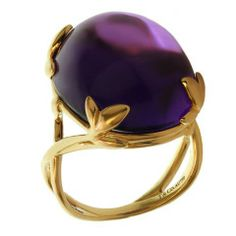 TIFFANY amp; CO. Paloma Picasso Amethyst Olive Leaf Yellow Gold Cocktail Ring