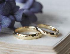 槌目春:光沢の槌目マリッジリング [marriage,wedding,ring,bridal,K18,gold,結婚指輪,オーダーメイド,ith,イズ]