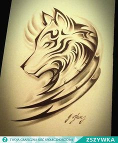 Wolf tattoo design with tribal Wolf Tattoo Design, Feather Tattoo Design, Tattoo Designs, Tattoo Ideas, Wolf Design, Kunst Tattoos, Body Art Tattoos, Tribal Tattoos, Sleeve Tattoos