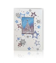 Kartka świąteczna B 381: Biały papier o delikatnej strukturze, druk pełno-kolorowy. Zaśnieżone choinki podkreślone delikatnym tłoczeniem dopełnione srebrną folią.