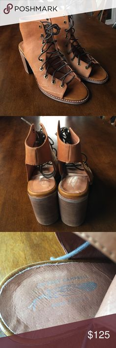 Jeffrey Campbell Minimal Lace Up Heel Tan Jeffrey Campbell & Free People Exclusive Minimal Lace Up Heel Tan Size 9.5.  Worn Once.  Perfect Condition. Jeffrey Campbell Shoes Lace Up Boots