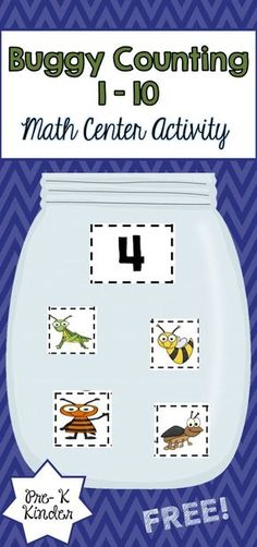 This counting activity is a great way for younger students to practice counting numbers 1-10. Students will choose a number card and place the correct number of insects inside the jar. This is a great addition for your insect unit!