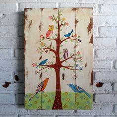 woodpainting 40 x 60 x 2 cm  #woodsign #homedecoration #retro #wallart #vintage #interior #holiday #homedesign #birds #tree #doodle