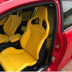 Yellow was a bold choice for this interior trimmed by but I dig it! Automotive Upholstery, Car Upholstery, Custom Car Interior, Interior Trim, Porsche Build, Sewing Stitches By Hand, Yellow Car, Scrap Material, People Sitting