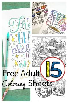 Coloring pages for grown ups! 15 free coloring sheets for adults to help you relax. Use these free adult coloring sheets to get started today without spending a dime! - Marble Crafting Inc. Colouring Sheets For Adults, Coloring Pages For Grown Ups, Free Adult Coloring Pages, Free Coloring Sheets, Mandala Coloring Pages, Free Printable Coloring Pages, Colouring Pages, Coloring Books, Free Printables