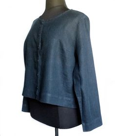 FLAX Sunshine Daily Cardi Top Blouse 1G 1X Midnight Solid Navy Blue Linen NWOT #Flax #Blouse #Casual