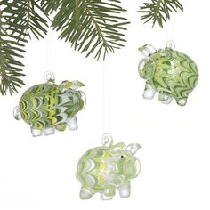 Set of 3 Pig Ornaments in Christmas Ornaments | Crate and Barrel