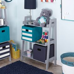 The RiverRidge Kids 3 Tier Ladder Shelf features three fixed shelves - perfect for storing and displaying books, toys and more. Open shelving creates the illusion of Toy Storage Bins, Kids Storage, Cube Storage, Locker Storage, Storage Ideas, Ladder Bookshelf, Kids Bookcase, Bookshelves, Small Bookshelf