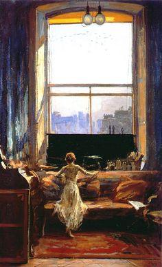 """Daylight Raid from My Studio Window, July 7, 1917""  1917 by Sir John Lavery"