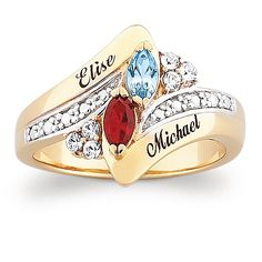 Marquise-Cut Simulated Birthstone 18k Yellow Gold over Sterling Silver Personalized Couple's Ring