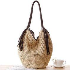 New Fashion Simple Casual Style Bag New Summer Handbag Woven Straw Beach  Bags Women Brand Tassel Handbag ZD233 046d1a122f0b6