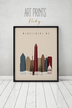 Washington DC wall print, art print Poster, Wall decor, Washington DC skyline, cityscape, City prints, Home Decor, Gift, ArtPrintsVicky   QUALITY