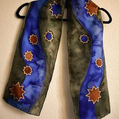 Painted Silk, Hand Painted, Silk Scarves, Stars, Purple, Green, Gold, Gifts, Presents