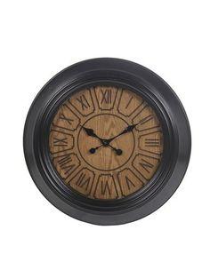 20 Inch Diameter Metallic Black Metal Frame Wall Clock