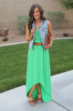 Green Hi Low Dress, Maxi Dress, Wedge Sandals, Denim Vest, Cognac Clutch, Cognac Belt, Michael Stars, Old Navy, Gap, J.Crew, MIchael Kors