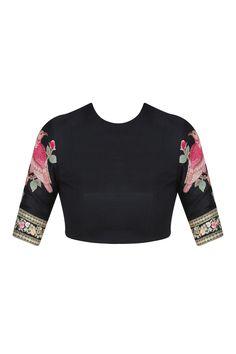 Dark pink and black cutwork brocade pallu saree with embroidered blouse piece… Black Blouse Designs, Sari Blouse Designs, Bridal Blouse Designs, Sabyasachi, Lehenga, Sarees, Salwar Kameez, Stylish Blouse Design, Embroidered Blouse